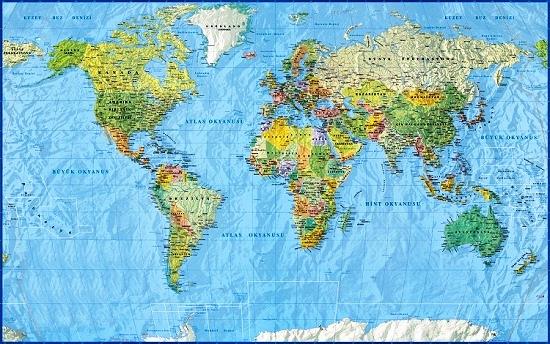 Büyük boy dünya siyasi haritası satışı türkçe dünya ülkeler